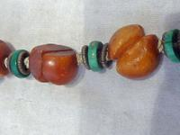 Antique Chinese Butterscotch Amber & Malachite Necklace - 42.3 grams (3 of 6)
