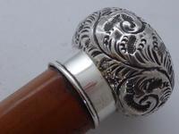 Edwardian Bailiff Walking Stick Cane 1903 Solid Silver Pommel Malacca Shaft (5 of 11)