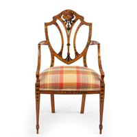 Late Victorian Sheraton Revival Painted Satinwood Armchair (2 of 5)