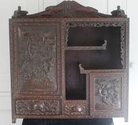 Antique Japanese Carved Wood Tabletop Cabinet c.1900 (5 of 15)