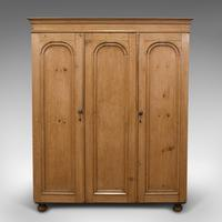 Antique Three Panel Wardrobe, English, Pine, Cupboard, Closet, Victorian c.1900 (2 of 10)