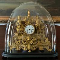 Large Superb Original 19th Century Glass Domed Gilt Mantle Clock For Minor Tlc (2 of 14)