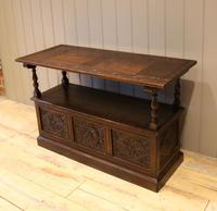 Late Victorian Solid Carved Oak Monks Bench (9 of 12)