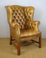 Superb Antique Buttoned Leather Wing Armchair