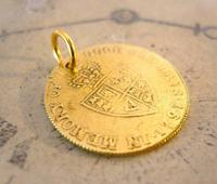 Victorian Pocket Watch Chain Fob 1890s Antique Brass Guinea Gambling Coin Fob (4 of 5)