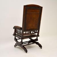 Antique Victorian Leather Rocking Chair (9 of 9)