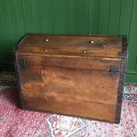 Antique Steamer Trunk Victorian Dome Top Chest Old Rustic Pine Blanket Box + Key (10 of 10)