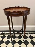 Small Antique  Wine or Candle Table With Galleried Top & Pull Out Shelf (4 of 13)