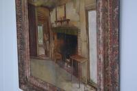 19th Century Oil on Canvas Interior Scene with Fireplace (8 of 11)