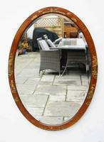 Large Oval Edwardian Mahogany Chinoiserie Decorated Mirror (6 of 16)