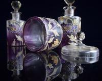 Moser Art Nouveau Enamelled Cameo Dressing Table Set (3 of 7)