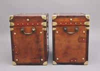 Pair of 20th Century Leather Bound ex Army Trunks in Excellent Condition (4 of 11)
