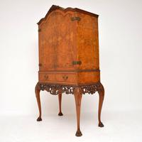 Antique Queen Anne Style Burr Walnut Cocktail Cabinet (4 of 11)