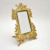 Antique Art Nouveau Brass Table Top Mirror / Picture Frame (2 of 7)