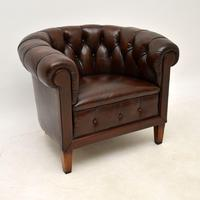 Pair of Antique Swedish  Leather Chesterfield Armchairs (8 of 9)