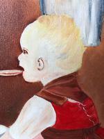 Oil Folk Art Painting Dutch Mother In Kitchen Feeding Her Child (3 of 13)