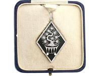 Black Onyx, 0.13ct Diamond and Pearl, 15ct Yellow Gold & Platinum Pendant - Art Deco c.1930