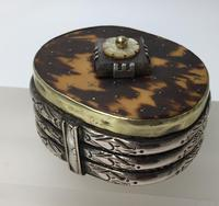 Early Tortoiseshell Inlaid Snuff Box Pique Work Brass Body Copper Bands Silver Strapping