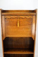Slim Edwardian Oak Hall Bureau (11 of 13)