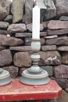 Pair of Swedish 'Folk Art' Large Over-sized Wooden Painted Candlesticks 20th Century (8 of 17)