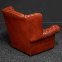 Burgundy Leather Chesterfield Wing-back Armchair (4 of 10)