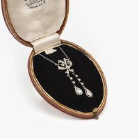 Antique Belle Epoque Gold Platinum & Diamond Pendant c.1910 (3 of 7)