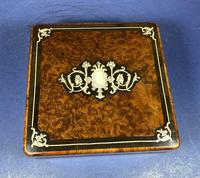 Victorian French Burr Cedar Jewellery Box with Inlay & Original Interior (7 of 13)