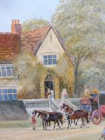 Large oil on canvas Old fashioned  view  Listed artist Richard Temple (4 of 10)