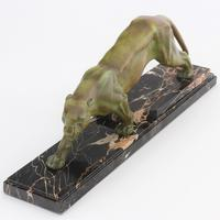 Large French Art Deco Patinated Spelter Prowling Panther on Marble Base c1925 (8 of 9)