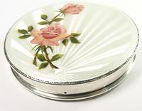 Lovely Mid Century Sterling Silver Compact Mirror with Pink Roses & White Guilloche Enamel
