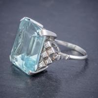 Art Deco Aquamarine Diamond Ring Platinum 25ct Emerald Cut Aqua c 1930 (5 of 5)