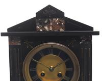 Antique French Slate & Marble Mantel Clock 8 Day Striking Mantle Clock (6 of 10)