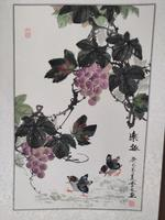 Vintage Chinese Ink Watercolour on Scroll Chicks Playing Under Grapes Bunches