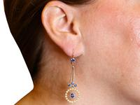 2.02ct Sapphire and Seed Pearl, 15ct Yellow Gold Drop Earrings - Antique Circa 1910 (9 of 9)