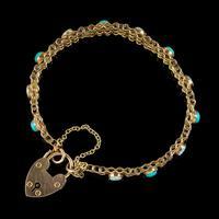 Antique Edwardian Opal Turquoise Gate Bracelet 9ct Gold Walker & Hall c.1901 (4 of 7)