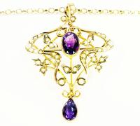 Antique Gold Amethyst And Seed Pearl Necklace (4 of 8)