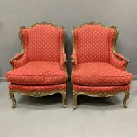 Pair of French Painted Wing Armchairs (2 of 8)