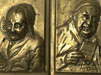 Pair Architectural Scottish Victorian Gilt Bronze Pipe Smoker Gentleman & Lady Wall Plaques (17 of 20)