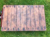 English Vintage Railway Willmot Trolley Oak Iron Plank Top Coffee Wheel Table (20 of 25)