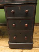 Antique Black Painted Pedestal Desk, 3 Parts, Gothic Shabby Chic (4 of 17)