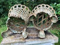 Pair of Coalbrookdale Style Antique Garden Cast Iron Lattice Urn Planters Claw Feet (6 of 12)