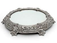 Cast Victorian Circular Mirror Plateau Cake Stand with a Rocky Simulated Border