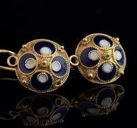 Vintage Russian enamel earrings, silver gilt (5 of 8)