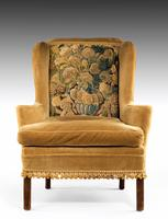 George III Period Wing Chair Incorporating a Verdure Tapestry Panel (2 of 6)