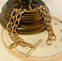 Victorian Pocket Watch Chain 1890s Antique 18ct Rose Rolled Gold Albert With T Bar (2 of 10)