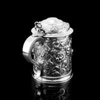 Antique Solid Sterling Silver Large Tankard with Royal Marines Officer Interest - Goldsmiths & Silversmiths Co 1900 (14 of 28)