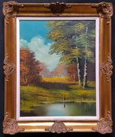 Immaculate Large Original Vintage Continental Woodland Landscape Oil painting