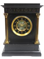 Antique French Slate Mantel Clock 8-Day Square Bracket Striking Mantle Clock with Gilt Decoration (10 of 11)