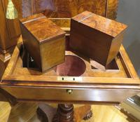 Exceptional Tea Poy Tea Caddy on Stand Burr Walnut (6 of 7)