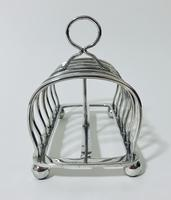 Large Antique Six Division Solid Silver Toast Rack (5 of 10)